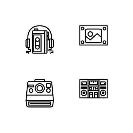 Retro tech and gadets. Set outline icon EPS 10 vector format. Professional pixel perfect black, white icons optimized for both large and small resolutions. Transparent background. Foto de archivo - 106766604