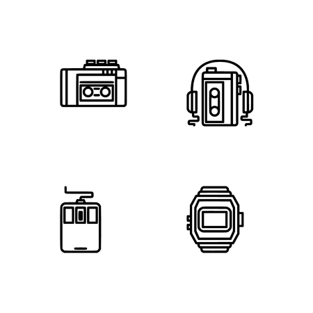 Retro tech and gadets. Set outline icon EPS 10 vector format. Professional pixel perfect black, white icons optimized for both large and small resolutions. Transparent background. Foto de archivo - 112088986