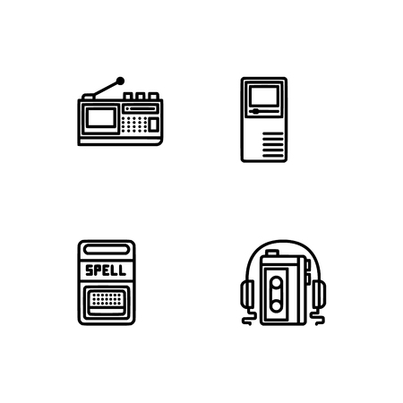 Retro tech and gadets. Set outline icon EPS 10 vector format. Professional pixel perfect black, white icons optimized for both large and small resolutions. Transparent background. Foto de archivo - 112088988