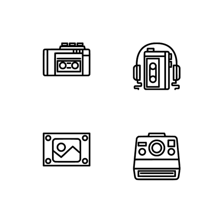 Retro tech and gadets. Set outline icon EPS 10 vector format. Professional pixel perfect black, white icons optimized for both large and small resolutions. Transparent background. Foto de archivo - 106766611