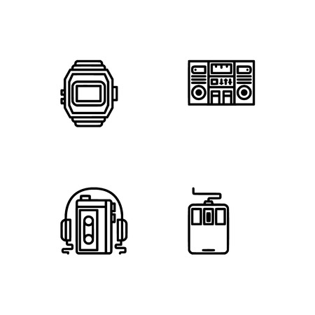 Retro tech and gadets. Set outline icon EPS 10 vector format. Professional pixel perfect black, white icons optimized for both large and small resolutions. Transparent background. Foto de archivo - 112088995