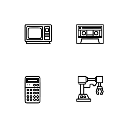 Retro tech and gadets. Set outline icon EPS 10 vector format. Professional pixel perfect black, white icons optimized for both large and small resolutions. Transparent background. Foto de archivo - 112088997