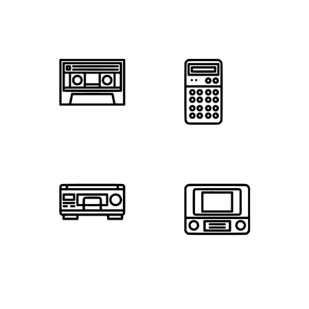 Retro tech and gadets. Set outline icon EPS 10 vector format. Professional pixel perfect black, white icons optimized for both large and small resolutions. Transparent background. Foto de archivo - 106179452
