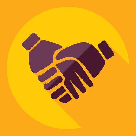 business support: Flat modern design with shadow  Icon handshake Illustration