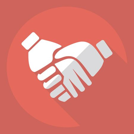 handshake icon: Flat modern design with shadow  Icon handshake Illustration