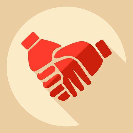 business agreement: Flat modern design with shadow  Icon handshake Illustration
