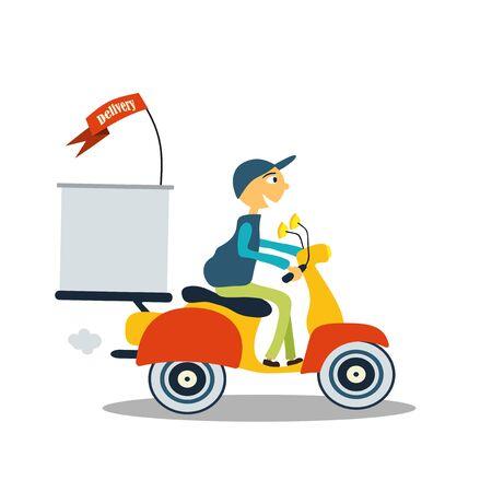 deliveryman: deliveryman man on a scooter, fast delivery Illustration