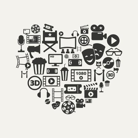 cinema: cinema icons vector image
