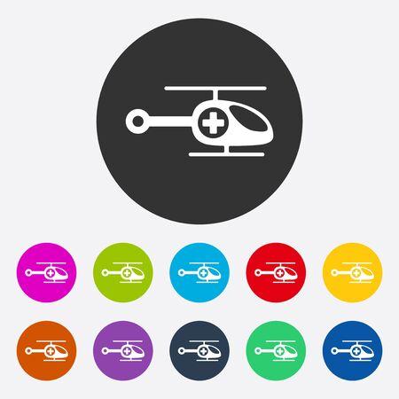 ambulancia: dise�o moderno plana con helic�ptero ambulancia sombra Vectores