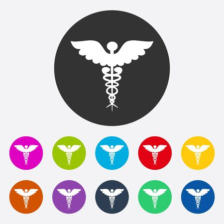 pharmacy snake symbol: Flat modern design with shadow symbol ambulance