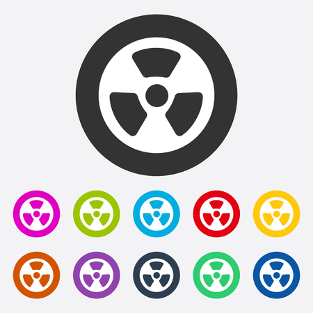 radiation symbol: Flat modern design with shadow radiation symbol