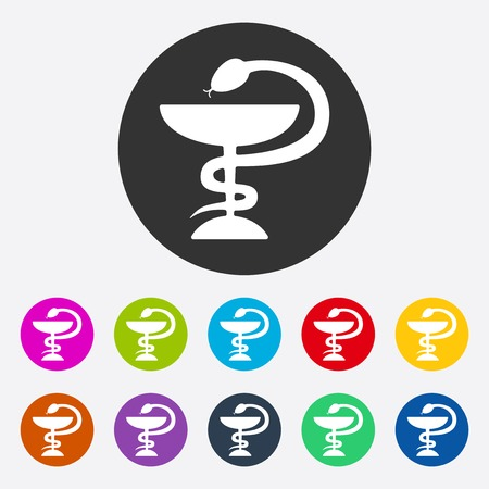 pharmacy snake symbol: Flat modern design with shadow Snake and cup Illustration