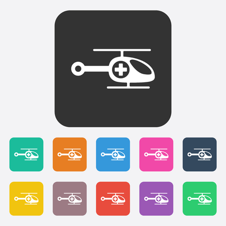 evacuation equipment: Flat modern design with shadow helicopter ambulance