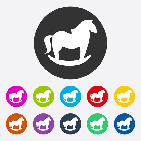 rocking: Flat modern design with shadow rocking horse Illustration