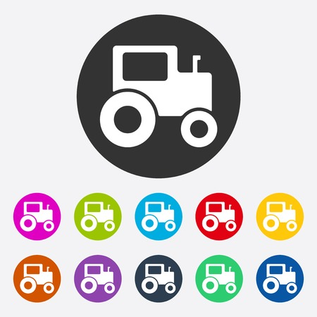 agricultural application tractor: icon of fashion, style, tractor Illustration