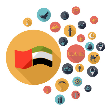 assemblage: Flat concept design with shadow SEO Emirates icon