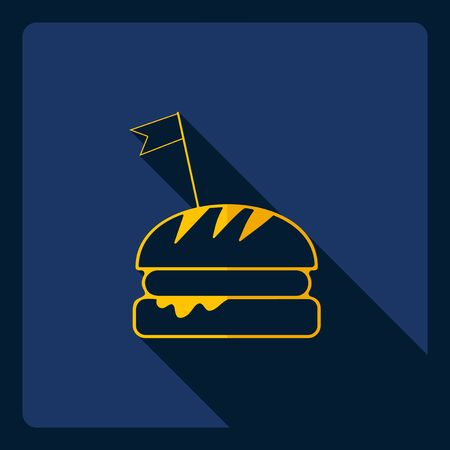 ready to eat: Flat modern design with shadow  Icon hamburger Illustration