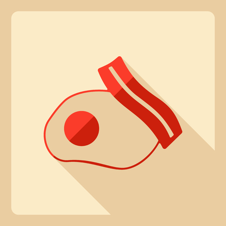 eggs and bacon: Flat modern design with shadow  Icon bacon and eggs