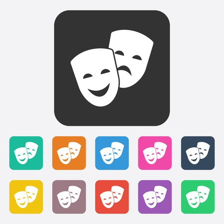 comedy and tragedy: Flat modern design with shadow comedy and tragedy masks Illustration