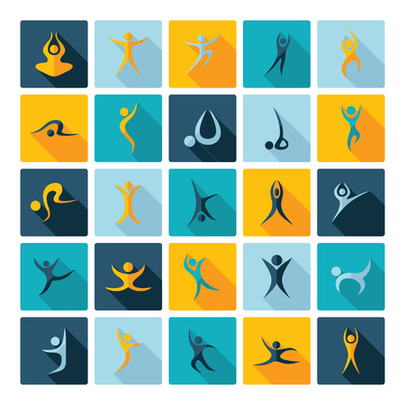 man abstract: Flat concept design with shadow  Set stick figure fitness