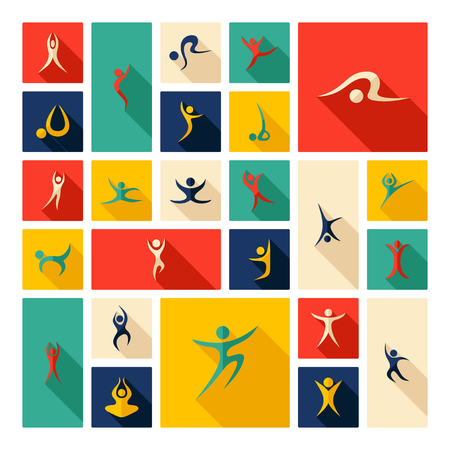 assemblage: Flat concept design with shadow  Set stick figure fitness