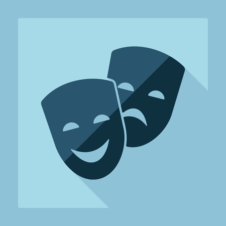 drama: Flat modern design with shadow comedy and tragedy masks Illustration