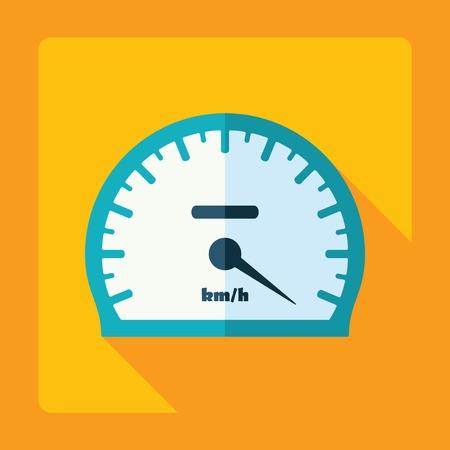 velocímetro: diseño moderno plana con sombra, velocímetro, indicador de velocidad