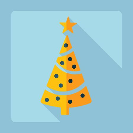 christmas tree set: Flat modern design with shadow, Christmas tree Illustration