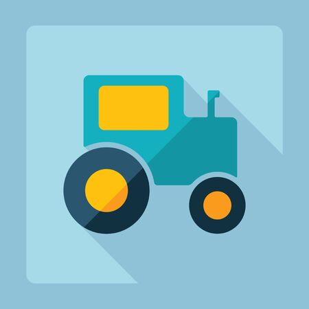 agricultural application tractor: Flat modern design with shadow, tractor
