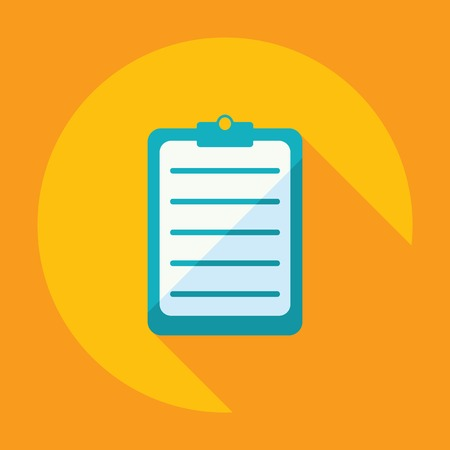 checklist icon: Flat modern design with shadow questionnaire