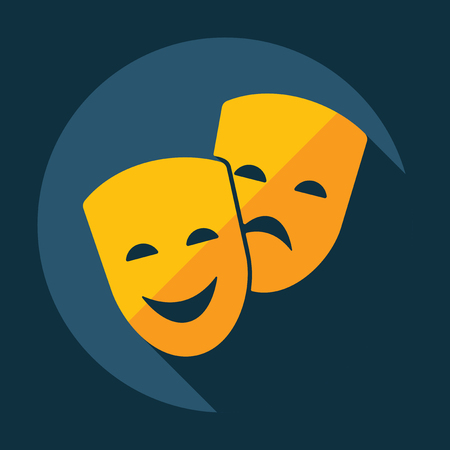 diseño moderno plana con sombra de la comedia y de la tragedia máscaras