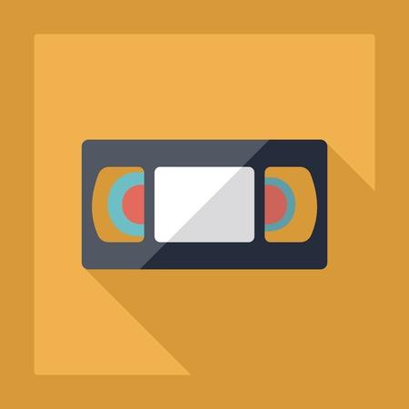 videocassette: Diseño moderno Apartamento de casete VHS sombra Vectores
