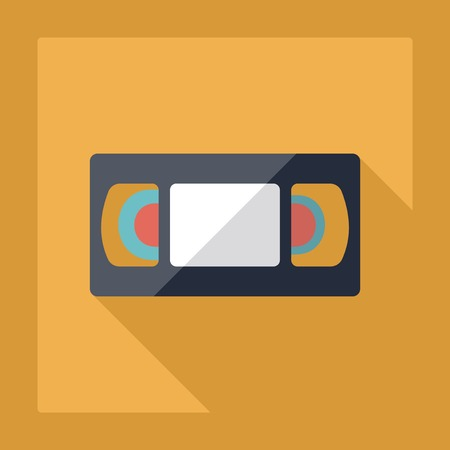 videocassette: Flat modern design with shadow VHS cassette