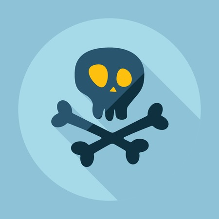 crossbones: Flat modern design with shadow skull and crossbones