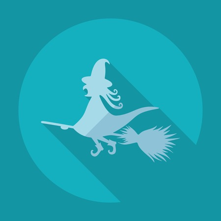 broomstick: Flat modern design with shadow witch on a broomstick
