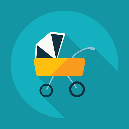 babysitter: Flat modern design with shadow buggy Illustration
