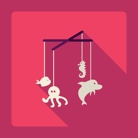 hanging toy: Flat modern design with shadow baby hanging toy