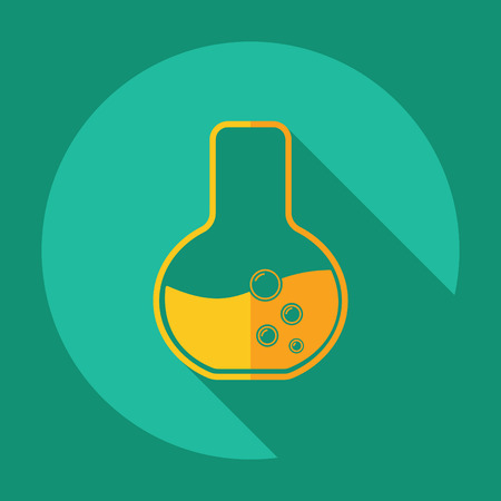 drug discovery: strong icon in the wall style flat beaker Illustration