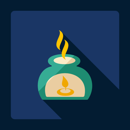 massage symbol: Flat modern design with shadow candles for spa Illustration