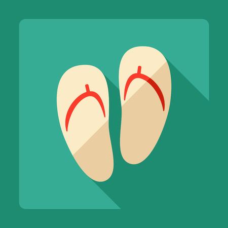 sandals: Flat modern design with shadow Sandals, flip-flops Illustration
