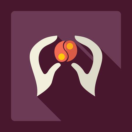 massage symbol: Flat modern design with shadow  hand icon Spa Illustration