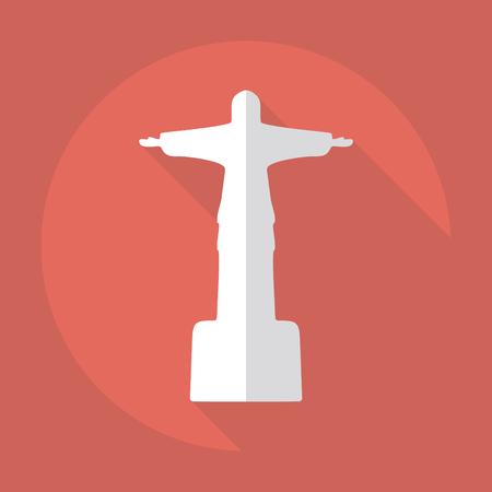 redeemer: Flat modern design with shadow Statue of Christ the Redeemer