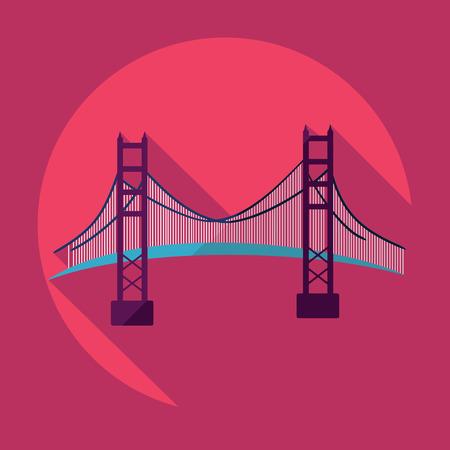 Flat modern design with shadow San Francisco Golden Gate bridge