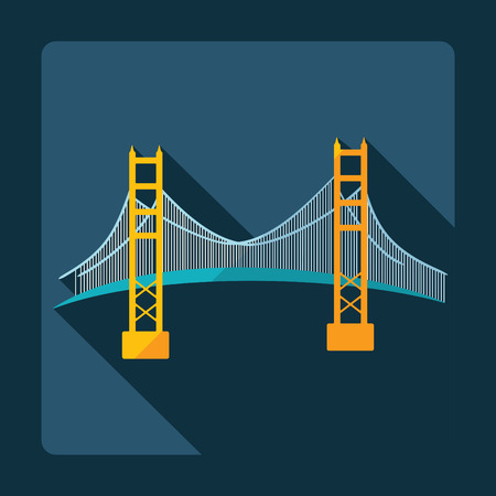 san francisco golden gate bridge: Flat modern design with shadow San Francisco Golden Gate bridge