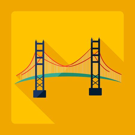 Appartement design moderne avec l'ombre pont de San Francisco Golden Gate Vecteurs