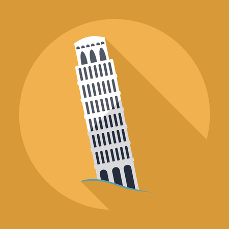 Flat modern design with shadow , Leaning Tower of Pisa 矢量图片