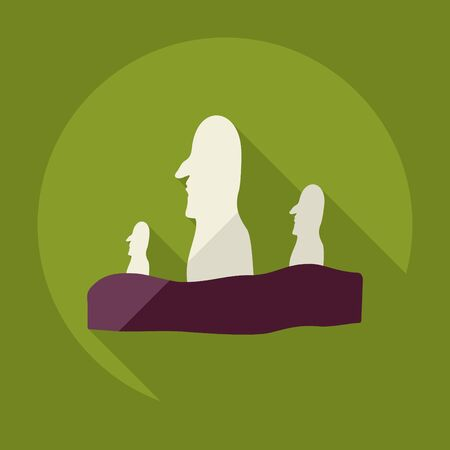 moai: Flat modern design with shadow Easter Island Statues