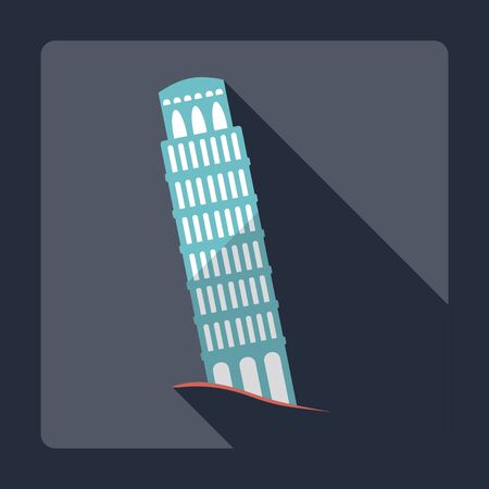 leaning tower of pisa: Flat modern design with shadow , Leaning Tower of Pisa