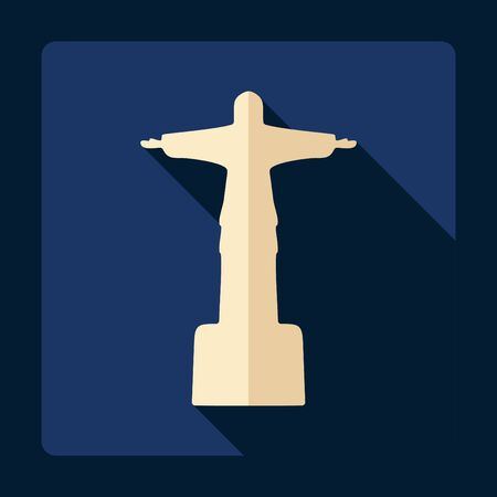 corcovado: Flat modern design with shadow Statue of Christ the Redeemer
