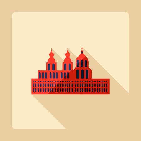 abbey: Flat modern design with shadow Melk Abbey Illustration